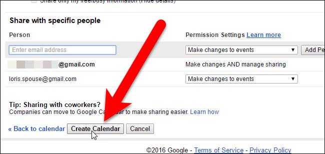 Clicking Create Calendar