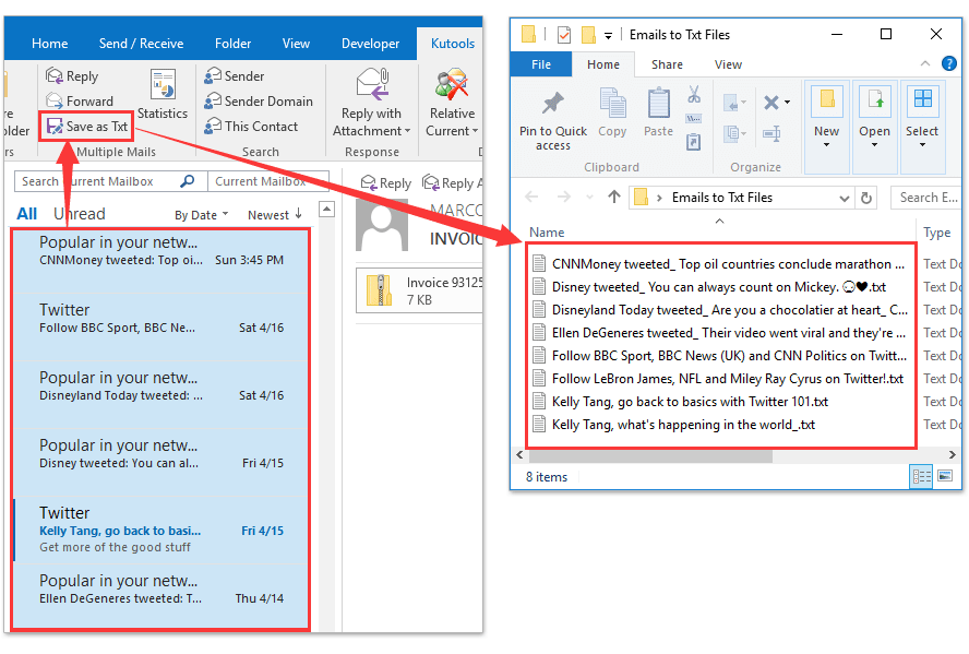 Save Messages as Text Files