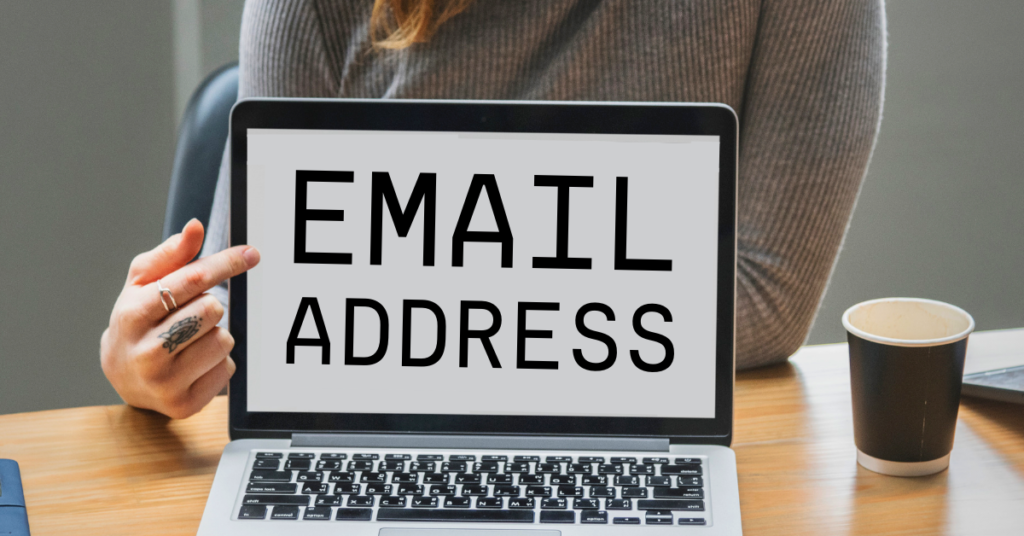 woman pointing to screen that says email address
